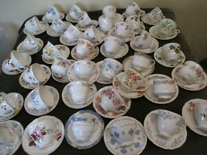 JOB-LOT-OF-5-MISMATCH-VINTAGE-CUPS-AND-SAUCERS-FOR-TEA-PARTIES-WEDDINGS-TEAROOM