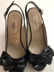 4f3673a4c49 Details about Valentino Bow Black Patent Leather Platform Wedge Espadrille  Slingback Size 37
