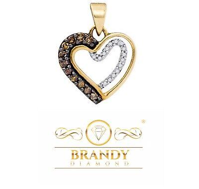 10K White Gold White Diamond Lovely Floating Heart Necklace Pendant .22Ct