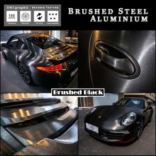 Black Metal Aluminio Cepillado Adhesivo Vinilo Para Vehículo Envolver o tablero TRIM