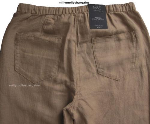 New Womens Marks /& Spencer Beige Peg Leg Linen Trousers Size 14 10 8 Long Leg 31