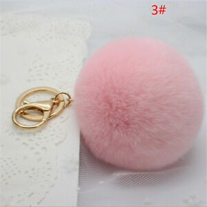 Rabbit-Fur-Ball-PomPom-Cell-Phone-Car-Keychain-Pendant-Handbag-Pink-Key-Ring-Hot