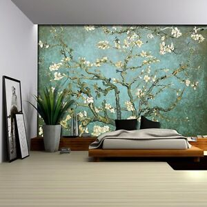 Aqua with Teal Vignette Almond Blossom by Vincent Van Gogh Wall