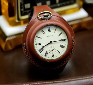 Antique-WW1-times-New-Leather-STRAP-Band-WRISTBAND-For-Pocket-Watch-55-58mm-WWII