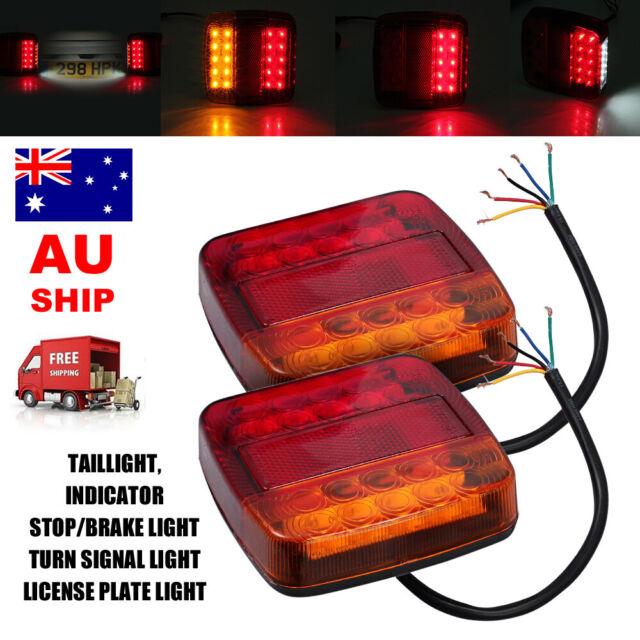 Pair 12V 26 LED Trailer Tail Lights Caravan Truck Boat Stop Square Number lights