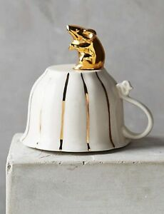 NIB Anthropologie PHILOMENA COOKIE STAMP Letters Sugar Spice Gold Mouse Tea Cup