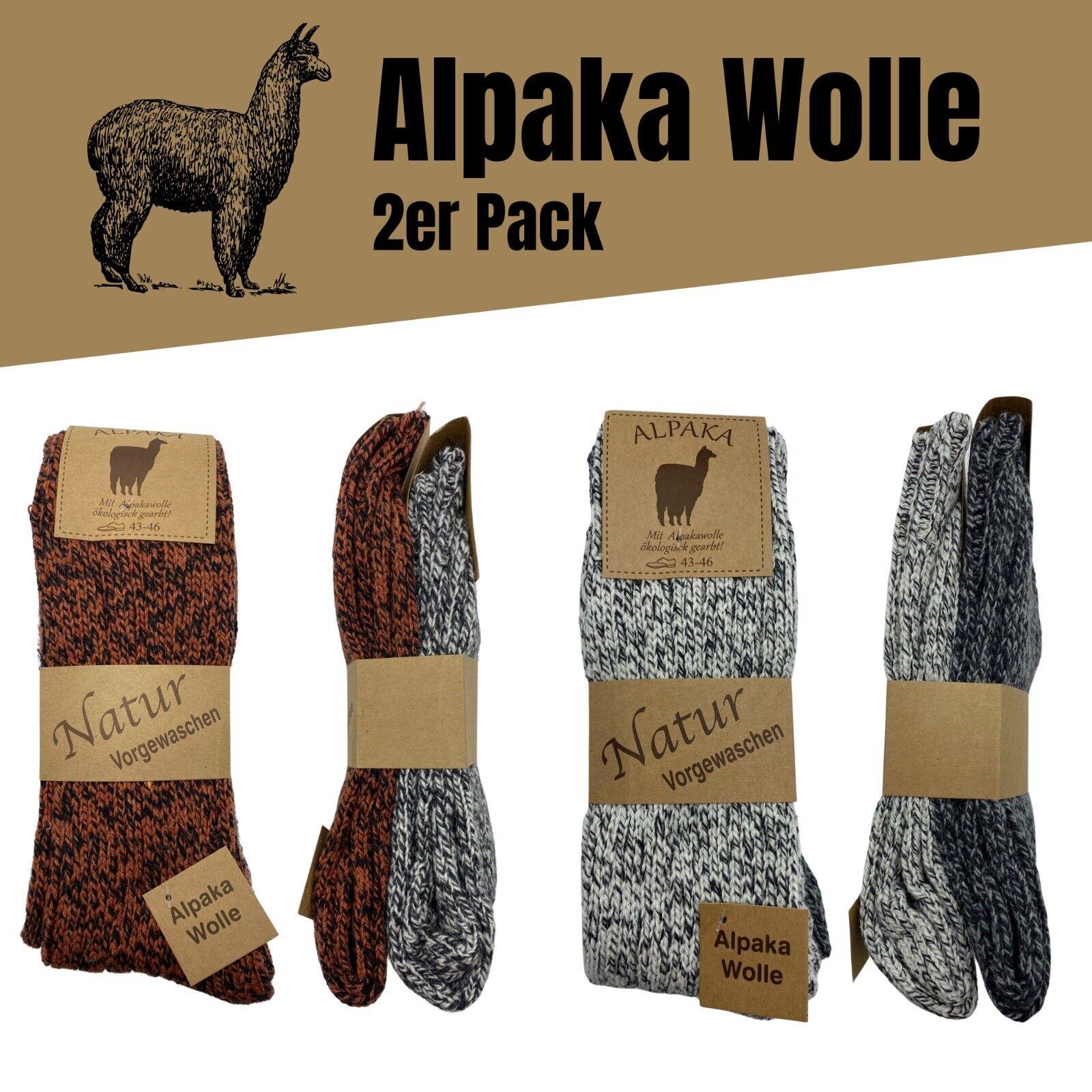 2/4 Alpaka Socken Herren Damen Wollsocken Schafswolle dick gestrickt Strümpfe