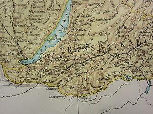 1919 LARGE MAP SIBERIA TOMSK IRKUTSK TRANSBAIKALIA INSET