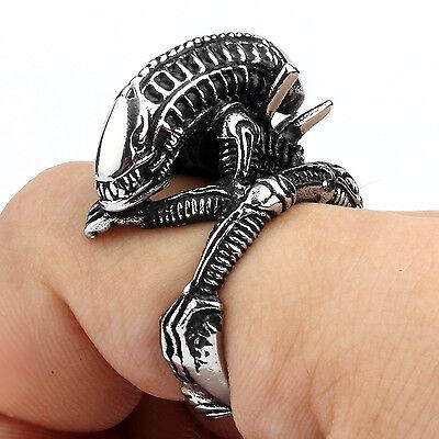 Silver Mens Rings Biker Stainless Steel Gothic Alien Dragon Skull Heavy Rings
