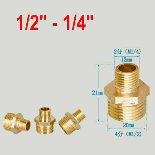"""1//8/"""" 1//4/"""" 3//8 1//2 3//4/"""" 1/"""" Brass BSP Nipple Thread Male Barb Connector Pipe Tube"""
