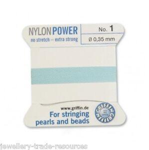 De Nylon Color Beige Potencia sedoso Hilo 0,3 mm de Encordar Perlas Y Cuentas Griffin 0