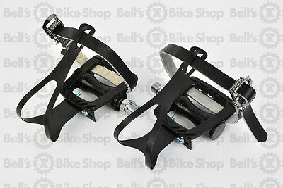 MKS GR-9 Pedals / Toe Clips Leather Straps Medium BLACK Fixed Gear Road Bike