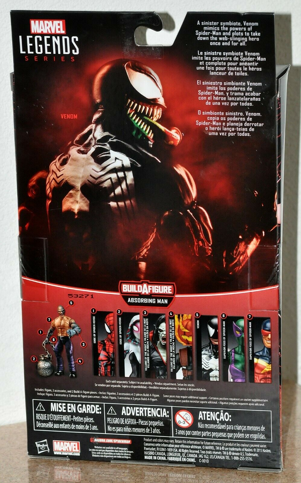Marvel Legends Spider-Man Venom Absorbing Man Head BAF MOC MOC MOC VHTF Hasbro 2016 a51cfe