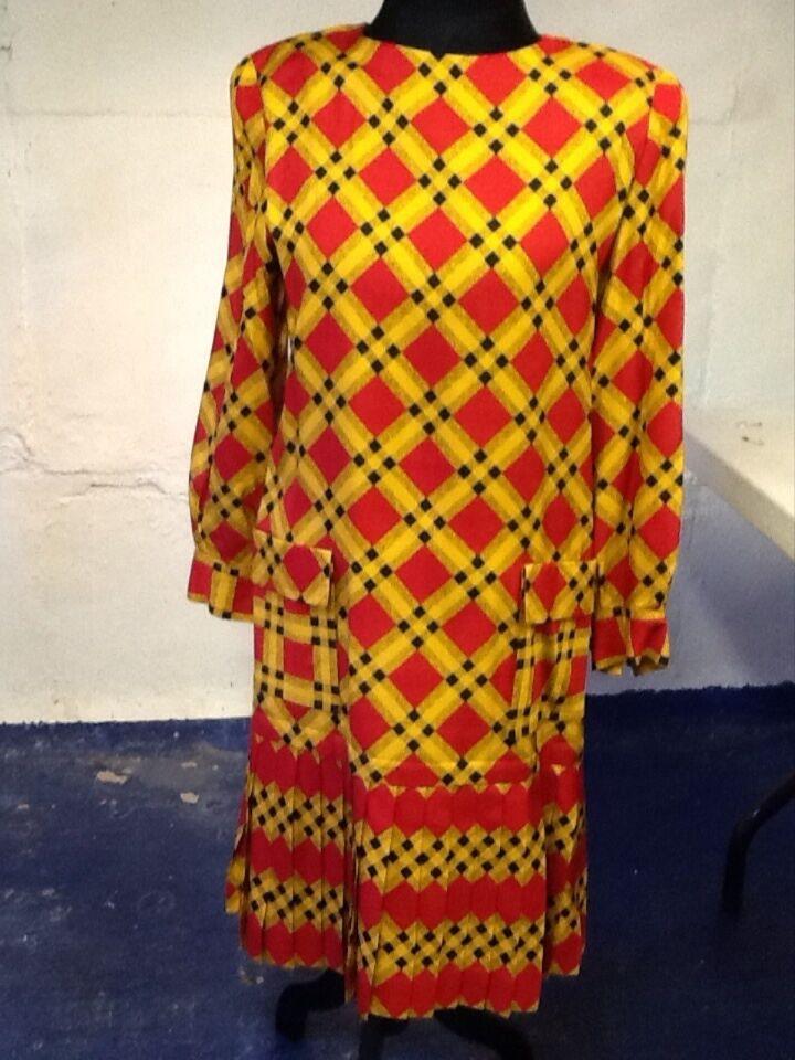 Carlisle Plaid Silk and Wool Dress 12