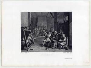 Bauernschenke-Kartenspiel-Kupferstich-n-Teniers-1820-Genre