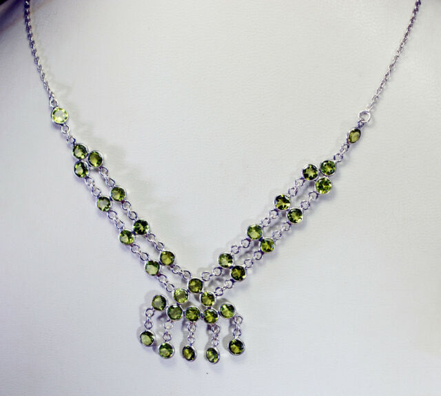 elegant Peridot 925 Solid Sterling Silver Green Necklace genuine supply US gift