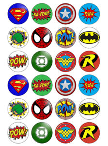 Image Is Loading 24 X Avengers Justice League Edible Cupcake Toppers
