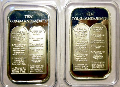 2 X 1oz TEN 10 COMMANDMENTS .999 PURE SILVER BARS ~ UNC /& SEALED IN VINYL !