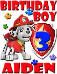 Image Is Loading PERSONALIZED MARSHALL PAW PATROL BIRTHDAY SHIRT ADD NAME