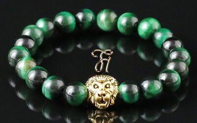 Ojo De Tigre Verde Pulsera Brazalete Perlas 8mm By Scientific Process Color Dorado Cabeza León