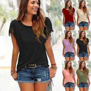 Womens-Summer-Tassels-Blouse-T-Shirt-Plus-Size-Short-Sleeve-Casual-Loose-Tops