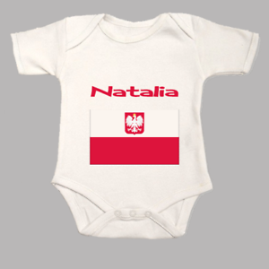 Personalised Polish Flag Your Childs Name Baby Grow Body Suit Vest Poland Named