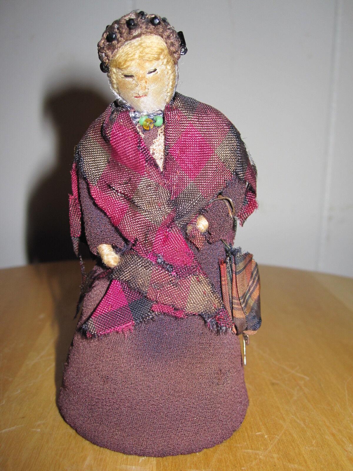 ANTIQUE 19th CT Y AMERICAN FOLK ART CLOTH STUMP TOYDOLL CROCHET UMBRELLA JEWELRY