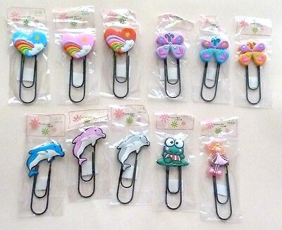 6x EXTRA LARGE NOVELTY BOOKMARKS, PAPER CLIPS