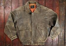 VTG USAAF TYPE G-1 BROWN LEATHER FLIGHT BOMBER JACKET LIFE TOOLS MEDIUM