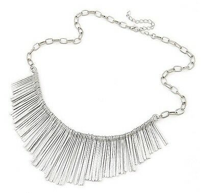Women Metal Multilayer Chain Tassels Choker Bib False Collar Long Event Necklace