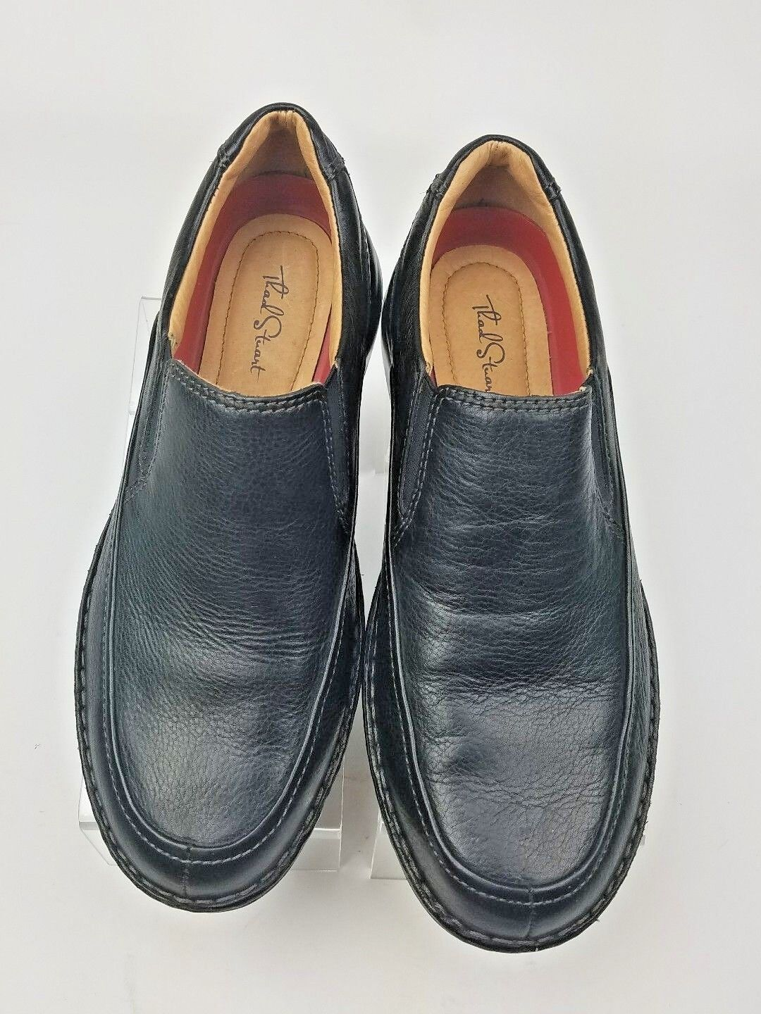 THAD LEATHER STEWART SOMERSET BLACK LEATHER THAD SLIP-ON LOAFERS SIZE 43/10 583609