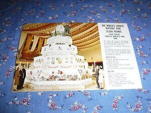 Fine Old Postcard 1962 Seattle Worlds Fair Largest Birthday Cake Funny Birthday Cards Online Barepcheapnameinfo