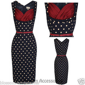RKB14-Lindy-Bop-Vanessa-Wiggle-Pencil-Dress-Pin-Up-Polka-Dots-50s-Rockabilly