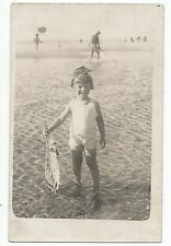 BP027 Carte Photo vintage card RPPC Enfant jouet bateau plage beach boat