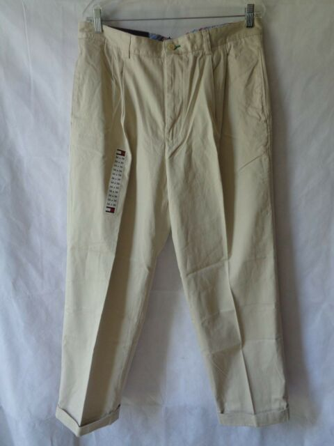 d2da8044 Tommy Hilfiger Men's Khaki Pleated Relaxed Fit Classic Chino Pants 36 x 30  NWT