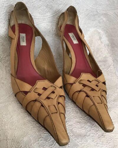 Prada Shoe Beige Leather Woven Long Pointed Toe Mu