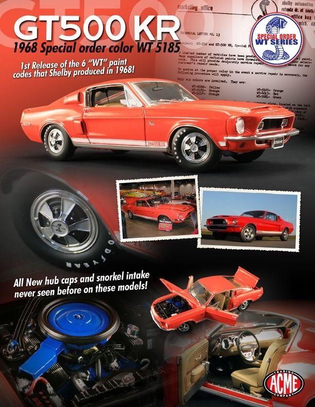 Ford mustang shelby gt500kr Orange 1968 acme 1,18 skala druckguss metall - auto