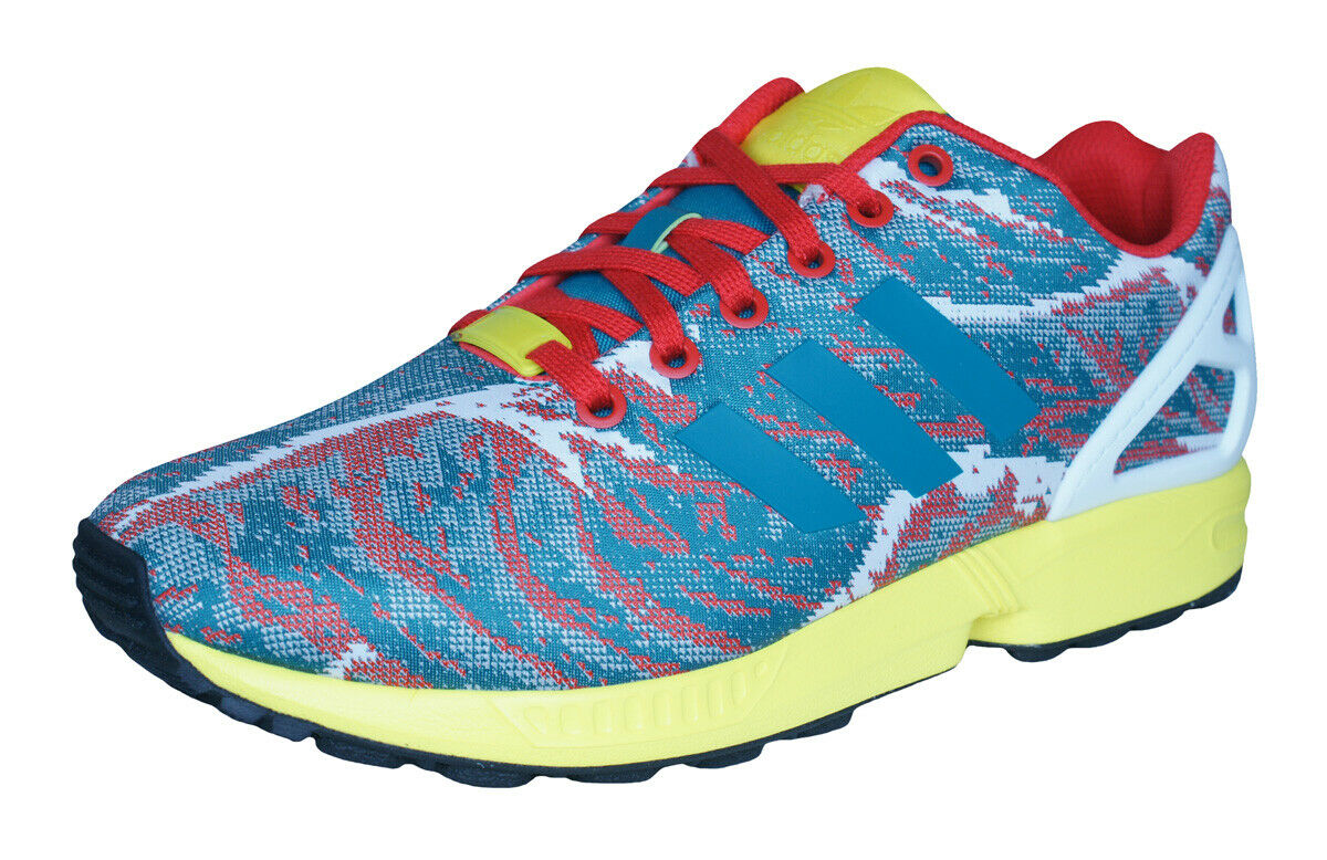 Adidas Original ZX Flux Weave Mens Retro Sneakers Gym Fitness shoes Green Multi