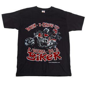 Childrens-Kids-Motorcycle-Black-T-shirt-When-I-Grow-Up-I-Wanna-Be-A-Biker-T