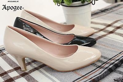 Totalmente nuevo para mujer Tribunal Gatito Tacón Medio Cómodo Inteligentes Trabajo Zapatos Talla 36-41
