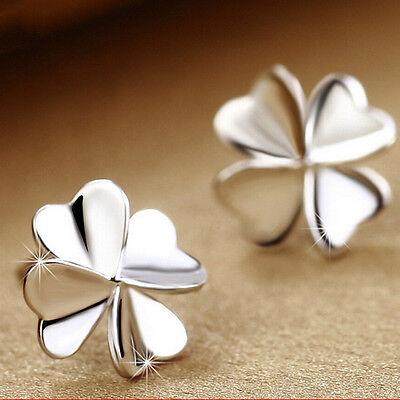 Women's Cute Lucky Clover Shape Earrings 925 Silver Ear Stud Fashion Jewelry