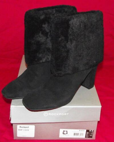 NEW in Box Rockport Womens Helena Cuffed Bootie Black Leather Sheep Fur $180