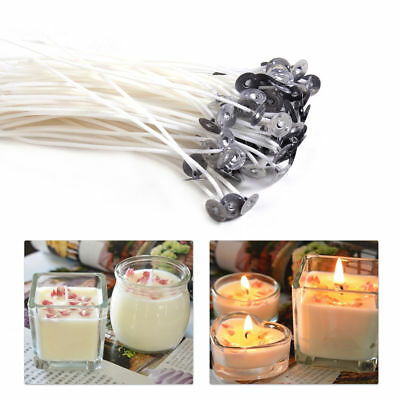 100X Candle Wicks Cotton Core Pre Waxed with Sustainers for Candle Making YH