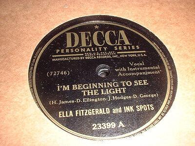 78RPM Decca 23399 Ella Fitzgerald, Im Beginning 2C the Light/Thats the Way it V+