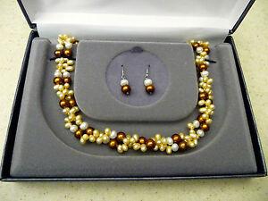 #168# Brand New Elegant Genuine Freshwater Pearl Necklace & Earrings Set Pearls