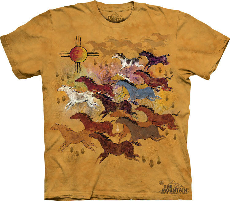 NEW HORSES AND SUN Native American Art The Mountain T Shirt Adult Sizes