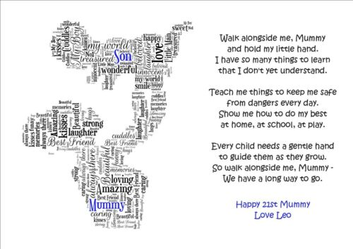 PERSONALISED Mum Mummy Son Daughter Word Art Print Christmas Birthday Occasion