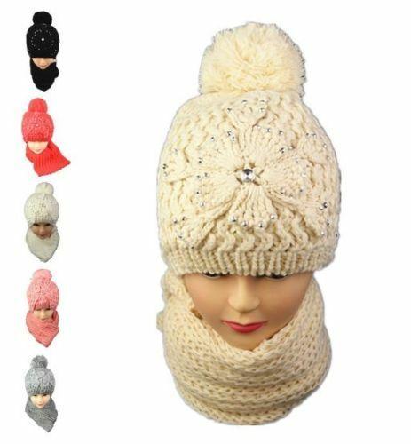 New Ladies Women/'s Winter Hat Scarf Set Woolen Cap Beanie Ear Warmer Knitted Pom