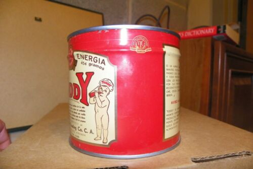 Unopened w key Vintage Hot Toddy Tin Can Very Nice Condition Advertising Tin Can