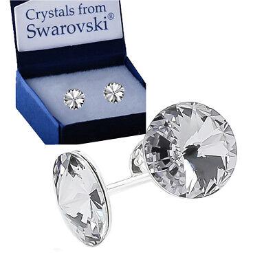 925 Sterling Silver Stud Earrings Rivoli Clear 12 mm Crystals from Swarovski®